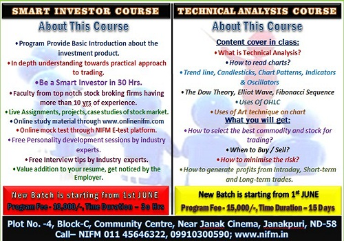 New Batch for Smart investor and Technical analysis course is starting from 1st June